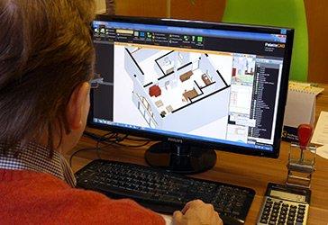 CAD Planung eines Kachelofens. Der Ofen wird im Raum dargestellt